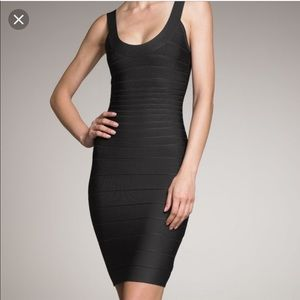 Herve Leger Sydney Black scoop Neck Dress S